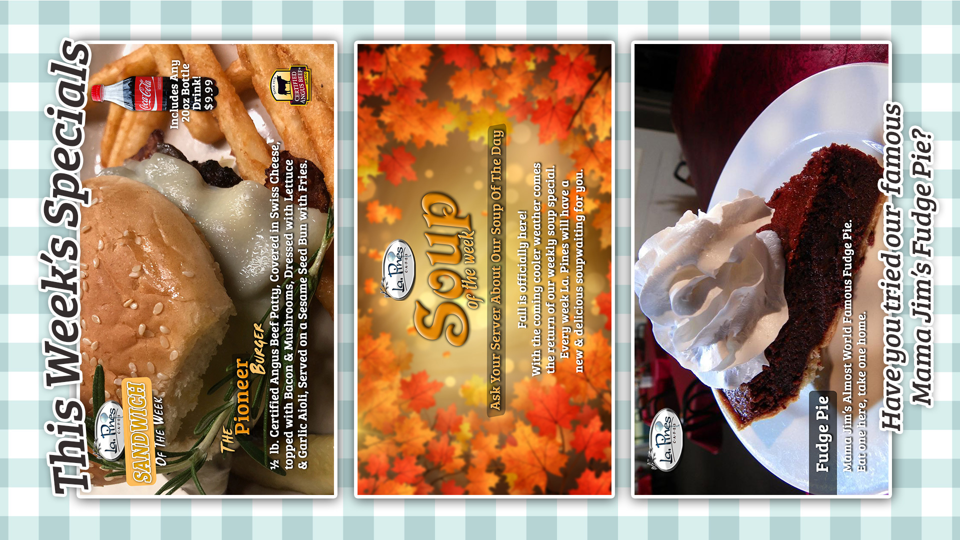 Weekly Specials Starting 10/18/2021.